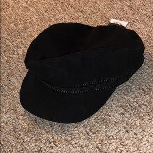 NWT TOPSHOP black zipper baker boy hat